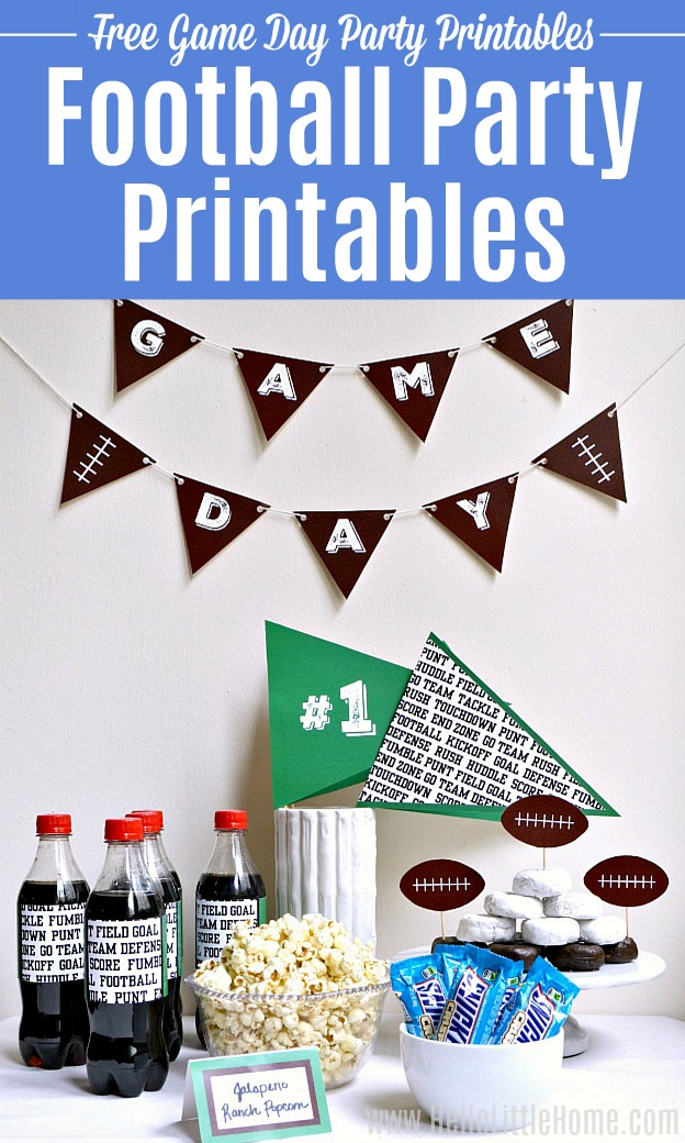 A table decorated with Football Printables at a party.