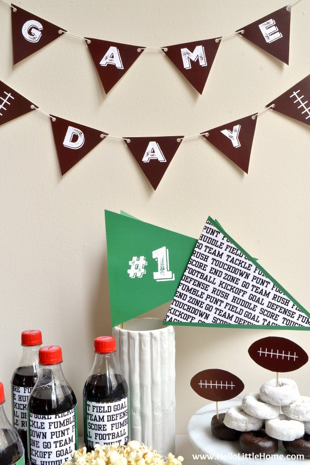 Free Football Themed Party Printables ... bring your game day or birthday party to the next level with these awesome free printables! | Hello Little Home