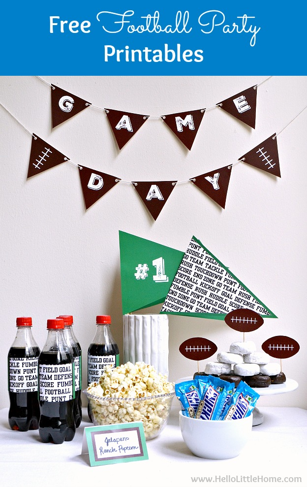 Free Football Themed Party Printables! Bring game day to the next level with these fun DIY football party decorations. These free sports theme printables (including banners, water bottle wraps, pennants, food toppers and labels) are cheap and easy to put together. These fun football party ideas are perfect for birthdays, Super Bowl watch parties, or any NFL game! | Hello Little Home