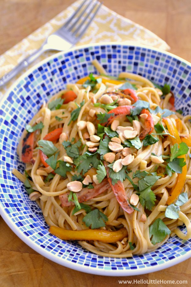 Hot Peanut Noodles ... this easy to make vegan bowl recipe is perfect for busy weeknights and tastes amazing topped with my Quick Peanut Sauce! | Hello Little Home