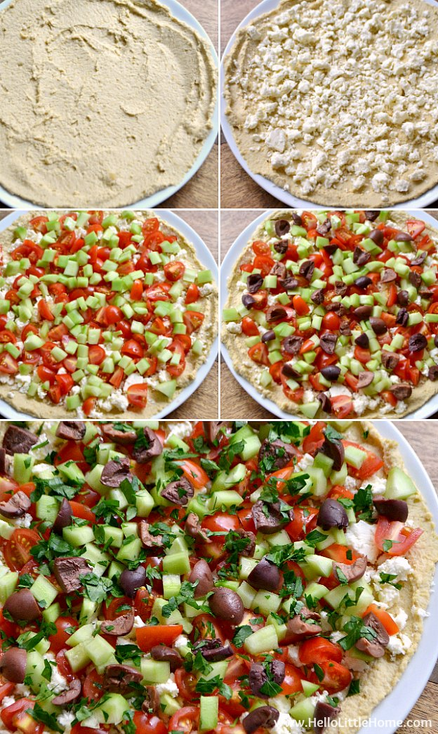 Photo collage showing how to make layered hummus dip step by step.