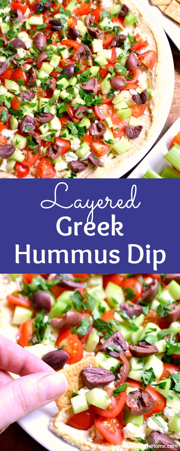 Layered Greek Hummus recipe … the perfect appetizer for parties! This easy Greek Layer Dip is made with homemade hummus layered with cucumbers, tomatoes, Kalamata olives, feta cheese, and herbs. Serve this healthy Greek Dip with crackers or pita bread for a fun and easy game day recipe!   Hello Little Home #greekfood #greekrecipe #hummus #dip #diprecipe #feta #olives #gamedayfood #greekhummusdip #greeklayerdip #hummusrecipe