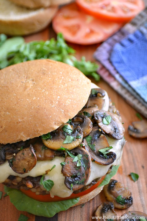 Mushroom Swiss Veggie Burgers ... full of delicious and healthy ingredients (like lentils, barley, savory spices, and garlicky sauteed mushrooms), this amazing vegetarian burger recipe is sure to be a hit on your table! | Hello Little Home