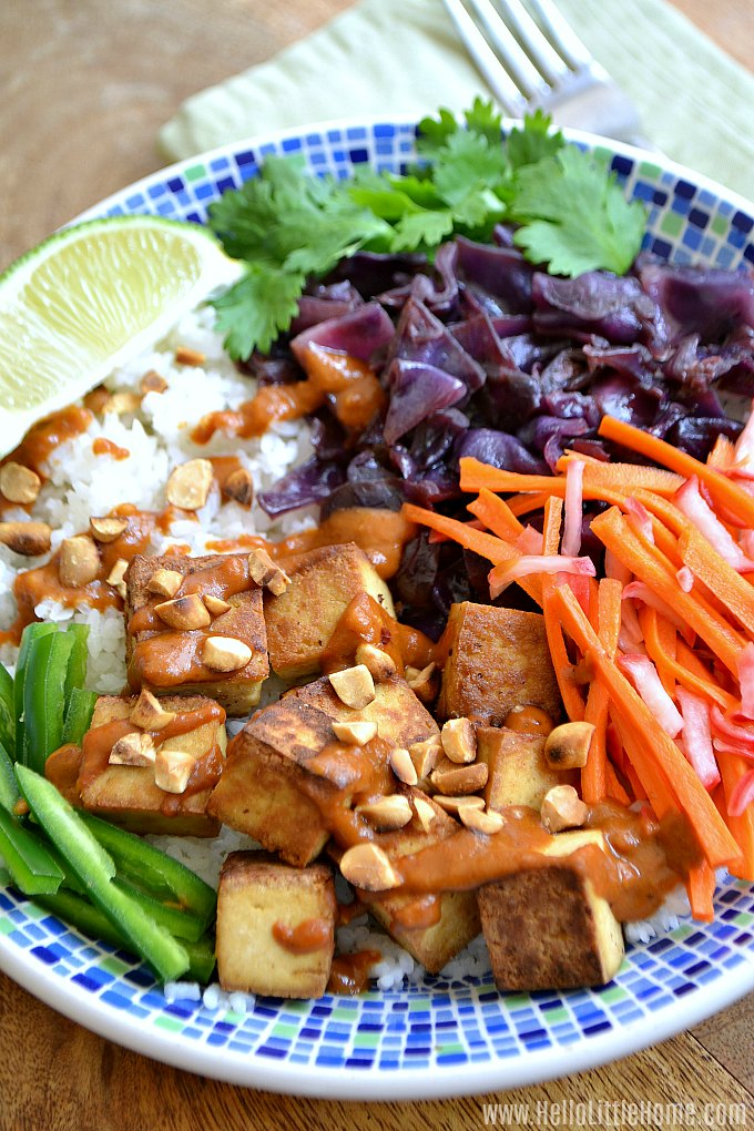 A Vietnamese Rice Bowl with Tofu and Peanut Sauce.