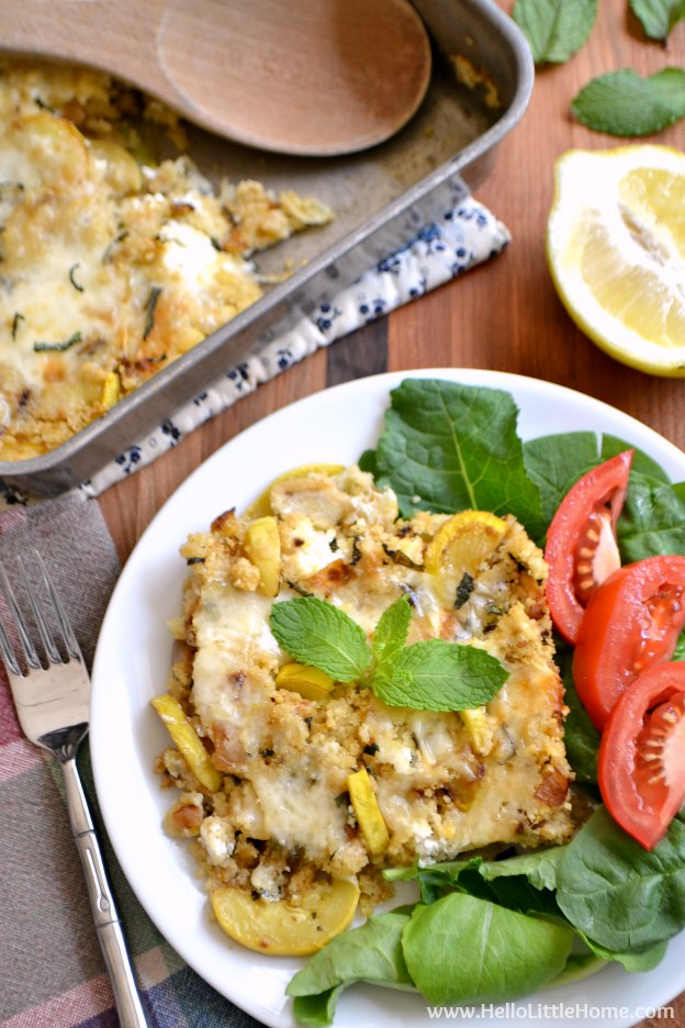 Zucchini, Mint, and Goat Cheese Couscous Casserole ... treat your family this cheesy, delicious, and healthy vegetarian casserole recipe tonight! | Hello Little Home