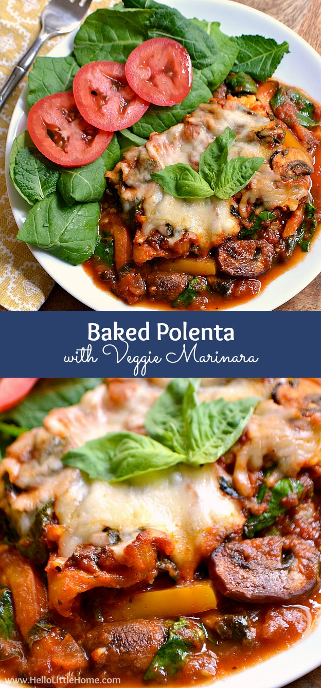 Baked Polenta with Veggie Marinara ... a delicious and easy to make vegetarian casserole recipe that full of fresh vegetables! | Hello Little Home