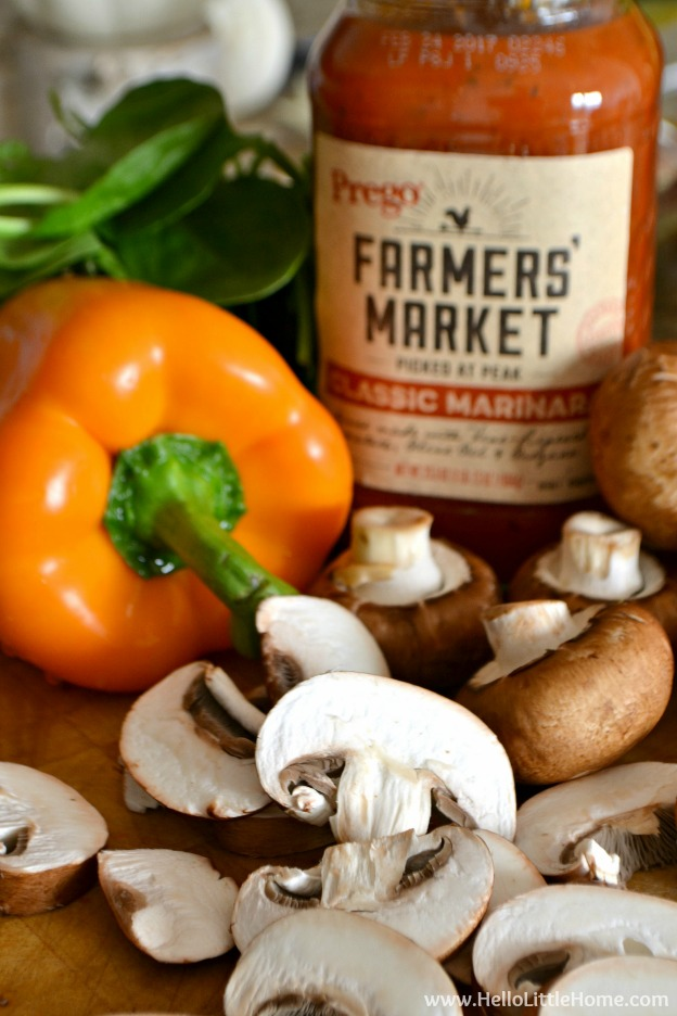 Prego Farmers' Market® Classic Marinara and fresh veggies from Walmart! | Hello Little Home