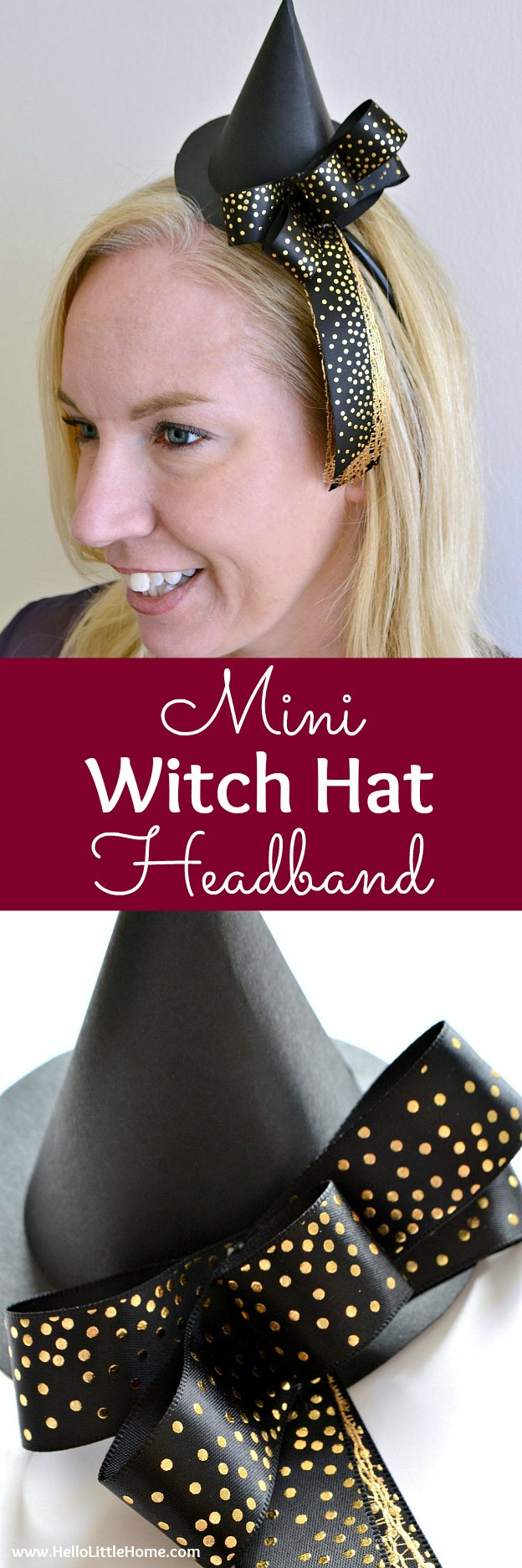DIY Mini Witch Hat Headband ... a fun craft that's perfect to wear for an easy Halloween costume! Learn how to make this easy DIY paper witch hat using a template / pattern and following a simple tutorial. This DIY witch hat fascinator makes a cute costume accessory that's great for kids or adults! | Hello Little Home