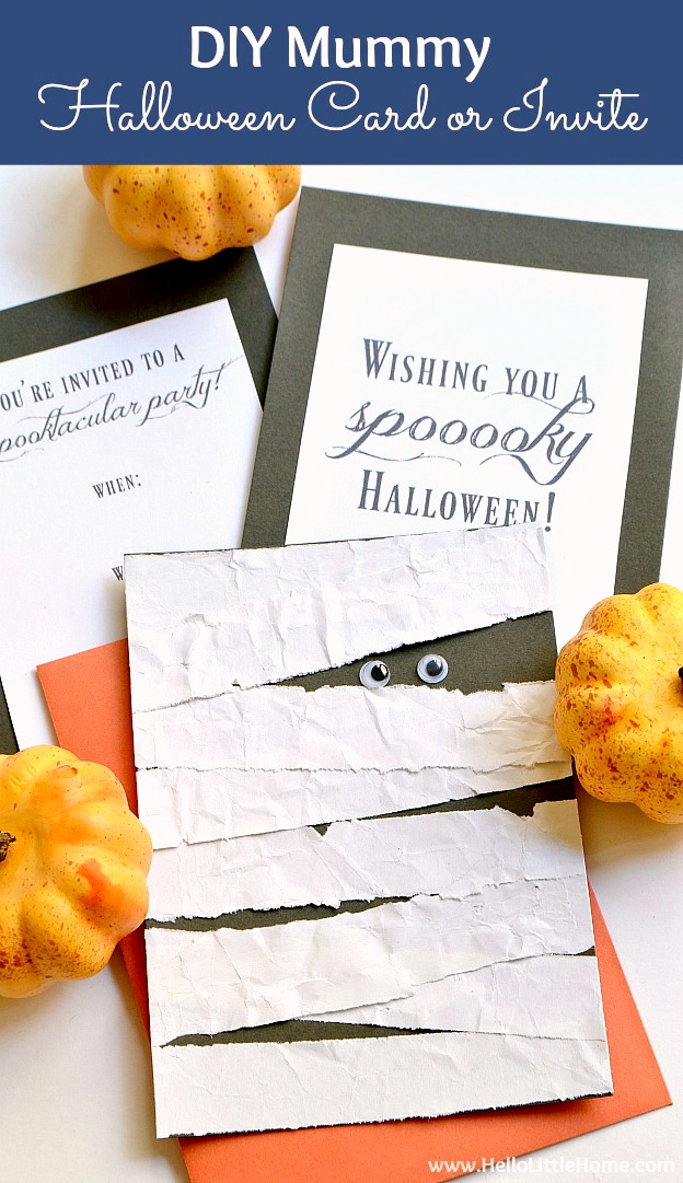 DIY Mummy Halloween Card or Invitation! Make this adorable DIY Halloween Card in minutes. This Mummy Cards is perfect for giving to friends or using as an easy DIY Halloween Party Invitation. | Hello Little Home #halloween #halloweenparty #halloweenpartyideas #halloweenpartyinvitation #halloweencards #diyhalloween #diyhalloweenideas