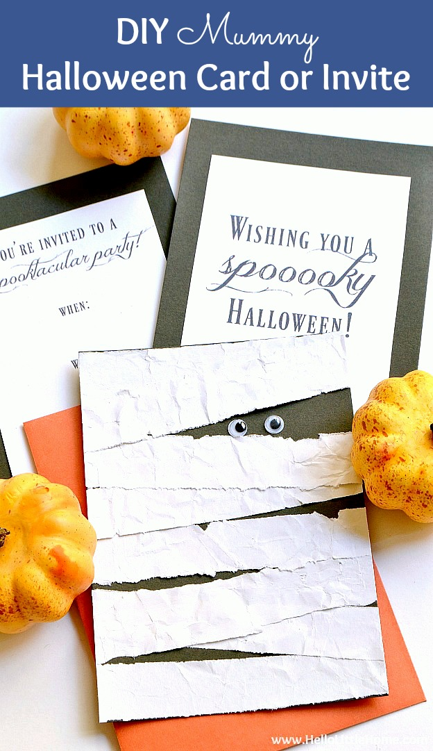 DIY Mummy Halloween Card or Invitation ... step by step tutorial with free printables! This cute and easy DIY Halloween card with googly eyes is a spooky paper craft for kids. Give it as a card or use it as a DIY Halloween party invitation… a fun Halloween craft for kids to make and for adults, too! | Hello Little Home