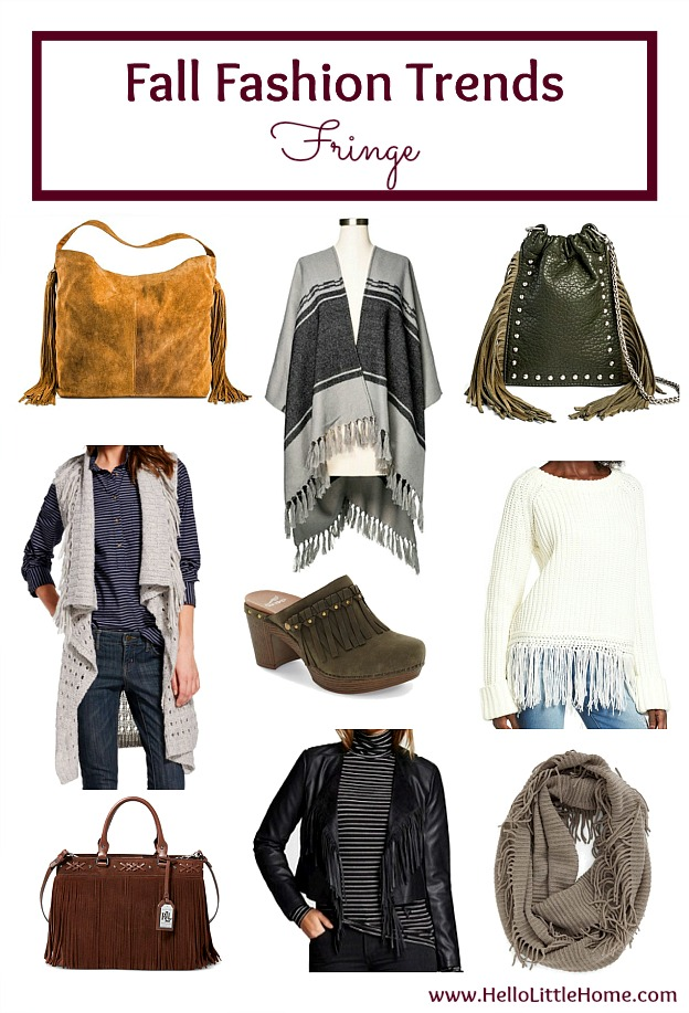 Five fall fashion trends anyone can wear ... fringe! Update your fall wardrobe with these trendy, but classic clothes that you can wear this season and beyond! | Hello Little Home