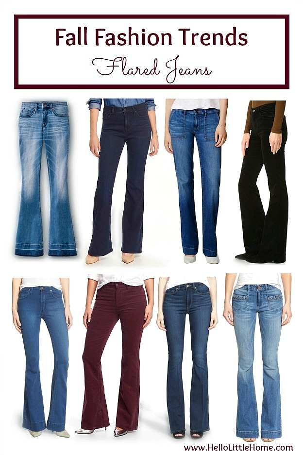 Five fall fashion trends anyone can wear ... flare jeans! Update your fall wardrobe with these trendy, but classic clothes that you can wear this season and beyond! | Hello Little Home