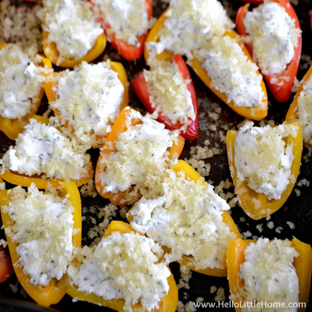 Panko topped peppers on a baking sheet.