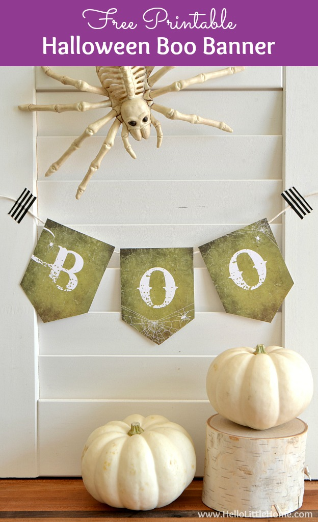 Free Printable DIY Halloween Banner! Simply print and hang this cute Halloween banner ... it's a fun Halloween craft for kids. Makes an easy, cheap Halloween party decoration idea, plus it's great for anyone looking for Indoor Halloween decorations. Simple and spooky, but not scary, DIY Halloween decor! | Hello Little Home