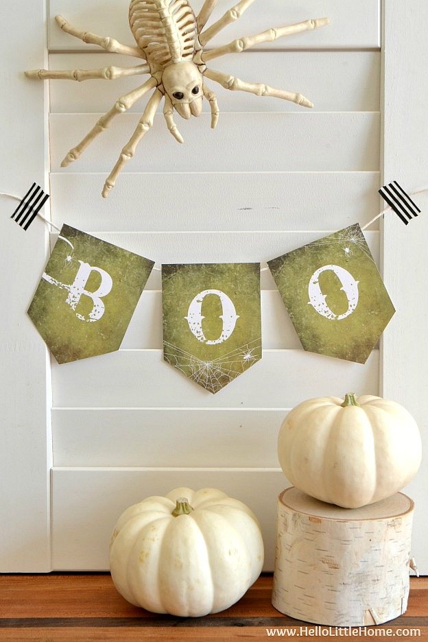 Free Printable Halloween Boo Banner ... decorate for Halloween the easy way with this cute banner that comes in two sizes! | Hello Little Home