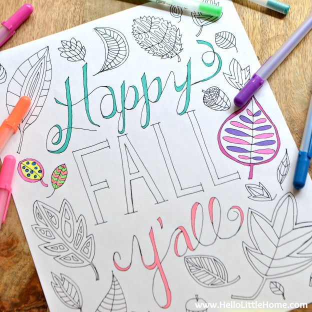 Happy Fall Y'all Free Printable Coloring Page ... the perfect way to celebrate autumn! This cute coloring page is the perfect addition to all your fall and Thanksgiving activities and parties! | Hello Little Home