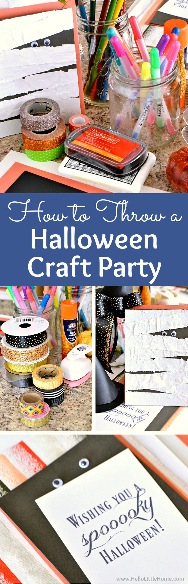 How to Throw a Halloween Craft Party! Gather your friends for this unique halloween party idea that's perfect for adults or for kids! Full of easy halloween crafts, Halloween party food ideas, and tips for staying organized, you're going to love these Halloween craft party ideas. | Hello Little Home
