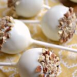 Pecan Pumpkin Spice Cake Pops ... delicious, fall-flavored treats that are simple to make! This easy cake pop recipe is sure to become a favorite fall recipe! | Hello Little Home