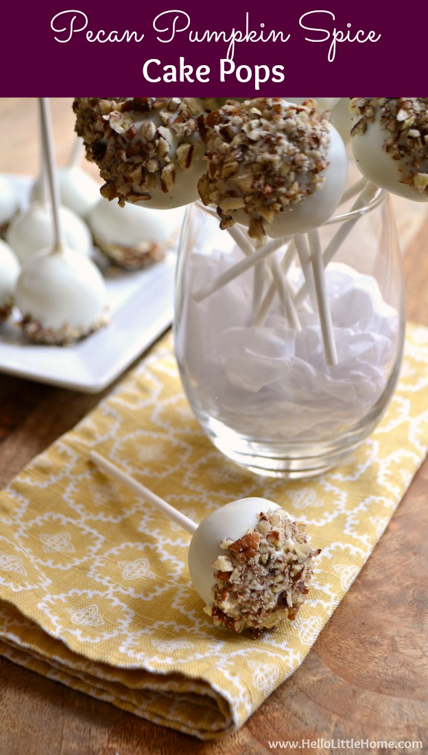 Pecan Pumpkin Spice Cake Pops … learn how to make homemade cake pops from scratch with this easy recipe! These delicious pumpkin cake pops make a fun fall or Thanksgiving dessert or Halloween party treat. A fun pumpkin spice dessert recipe that no one can resist! | Hello Little Home