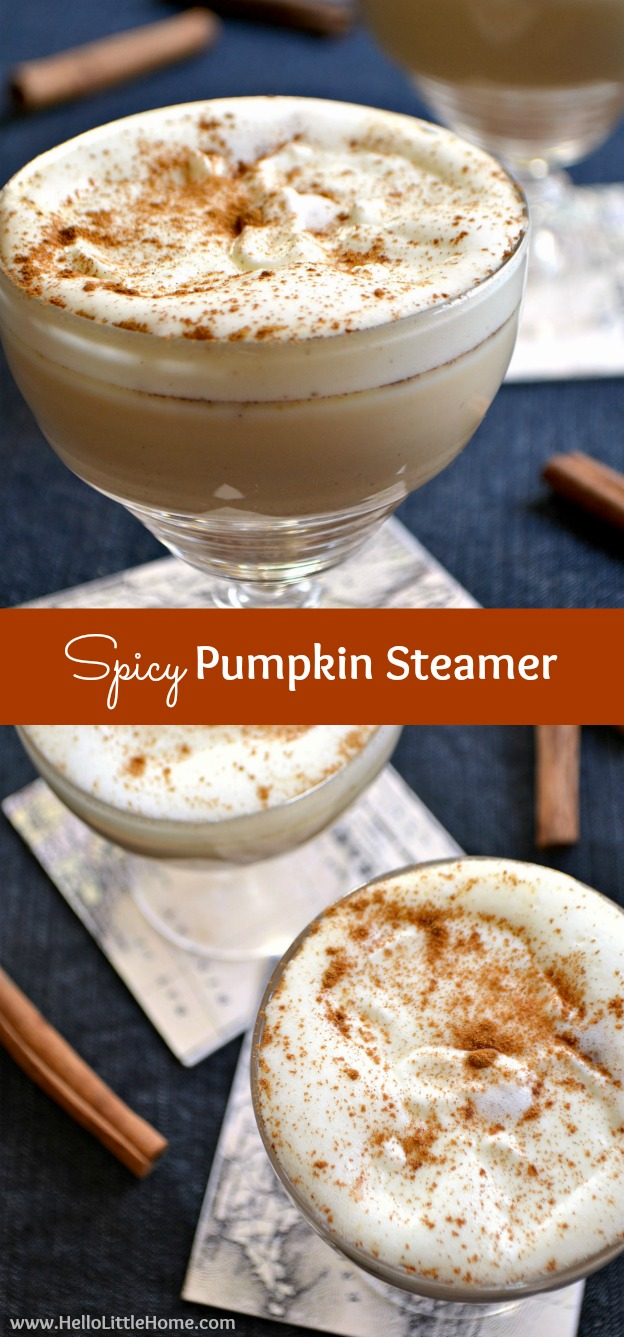 Spicy Pumpkin Steamer sprinkled with cinnamon.