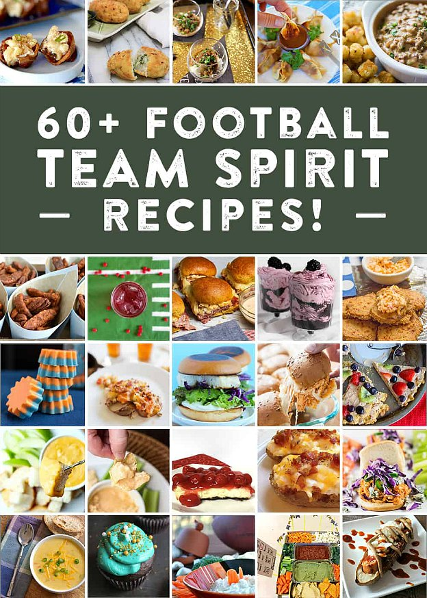 Collage of football team spirit recipes.