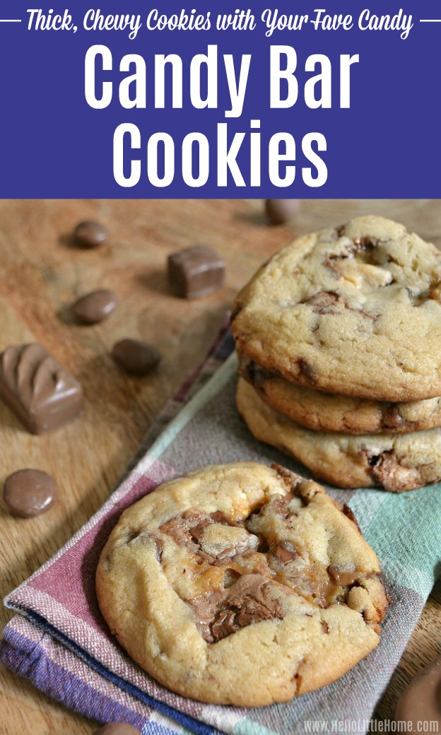Thick, chewy candy bar cookies and chocolate candy on a table.