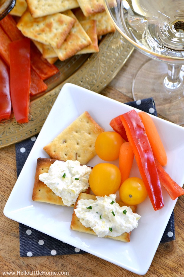 Creamy Lemon Artichoke Spread ... a rich, delicious appetizer recipe that's perfect for sharing with friends, especially when paired with a bottle of your favorite wine!   Hello Little Home