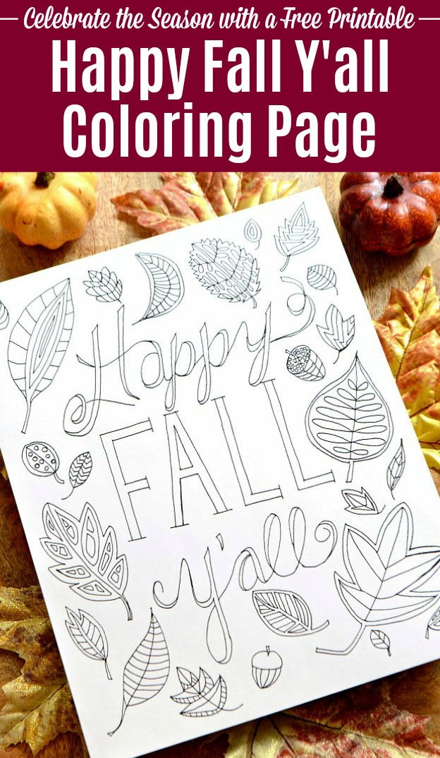 Free Fall Coloring Page for grownups or kids! Celebrate the season with a Happy Fall Y'all Free Printable Coloring Page! This cute autumn coloring page has a fun fall nature theme that's all about colorful fall leaves. An easy fall craft idea that's perfect kids or adults … so get our your colored penciled and markers and start working on this leaf coloring page now! | Hello Little Home #coloring #coloringpages #coloringbooks #freecoloringpage #fall #fallcrafts #fallcoloringpage #adultcoloring