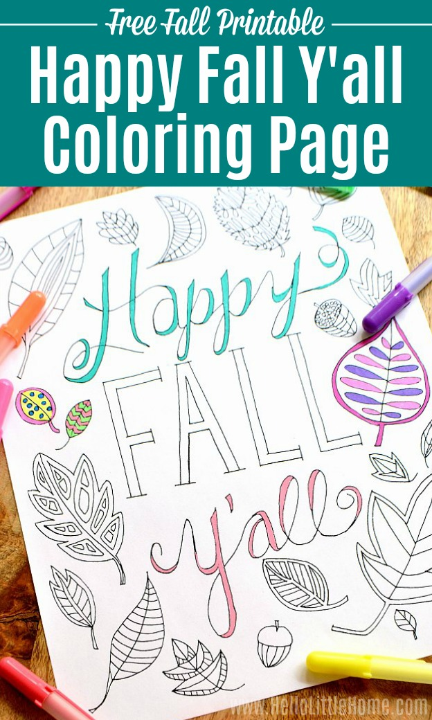 Free Fall Coloring Page ... Happy Fall Y'all! | Hello ...