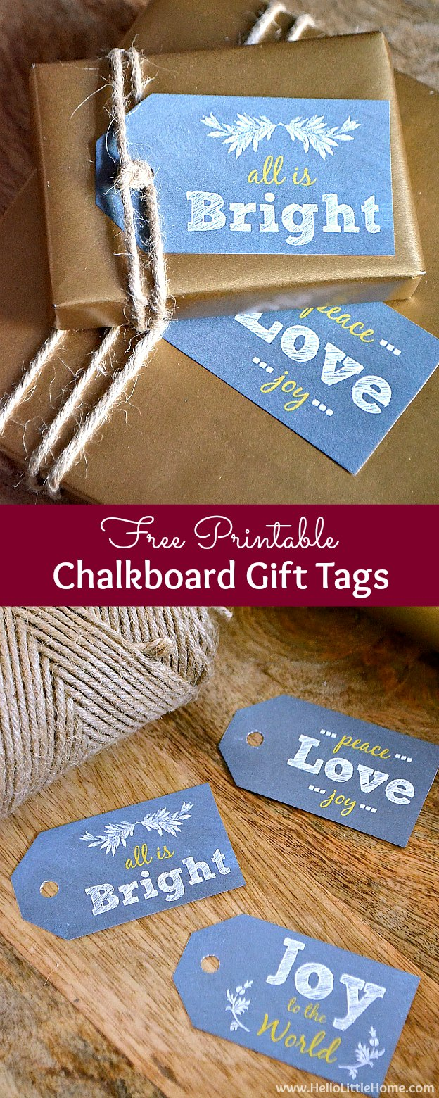 Free Printable Holiday Chalkboard Gift Tags ... download these free Christmas labels to add a festive touch to all your holiday packages! | Hello Little Home