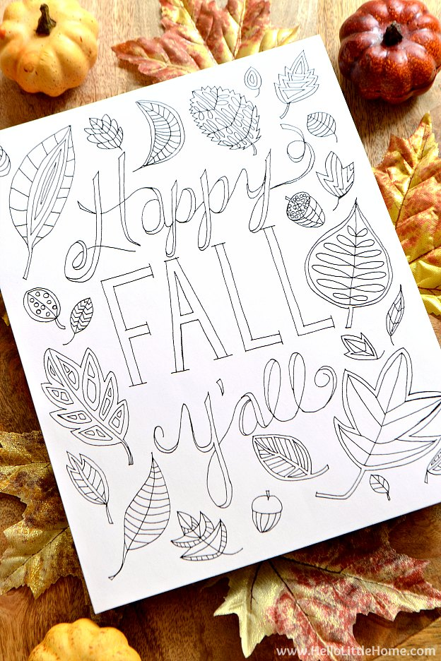 Happy Fall Y'all Free Printable Coloring Page! This cute fall coloring page has a fun autumn nature theme that's all about colorful fall leaves. An easy fall craft idea that's perfect kids or adults! | Hello Little Home