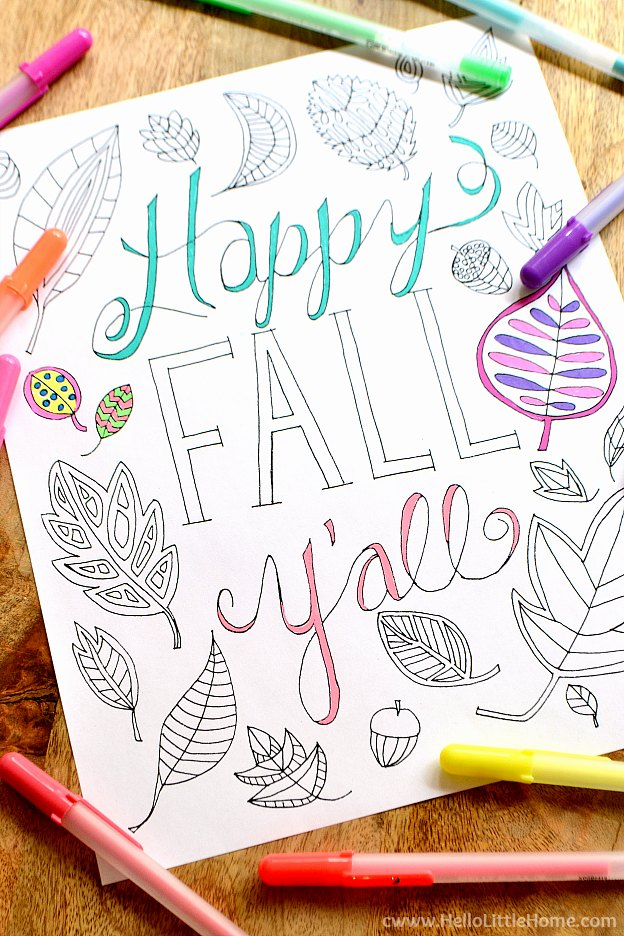 Coloring in the Happy Fall Y'all Free Printable Coloring Page with gel pens. | Hello Little Home