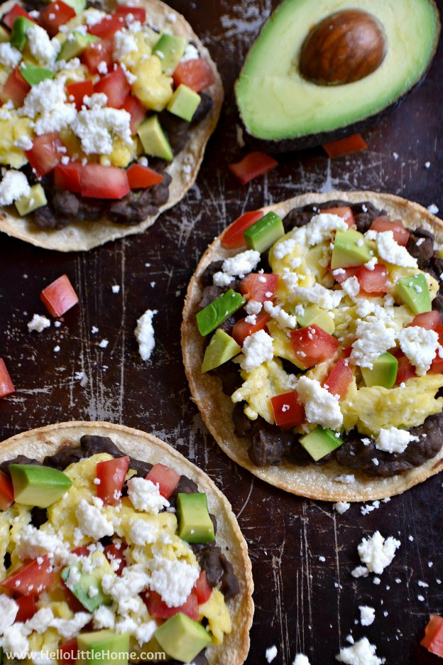 100 Must Try Vegetarian Spring Recipes ... everything from appetizers to main dishes to desserts, including these Mexican Breakfast Tostadas! You're going to want to try each of these amazing vegetarian recipes! | Hello Little Home