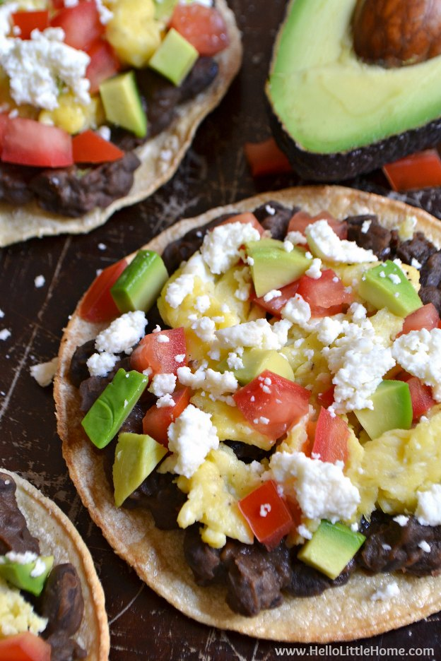Mexican Breakfast Tostadas ... one of 100 Vegetarian Game Day Recipes! Get ready for the big game with over 100 vegetarian and vegan appetizers, soups, chilis, main dishes, sandwiches, breakfast, desserts, and more that will make your next football watching party unforgettable! | Hello Little Home
