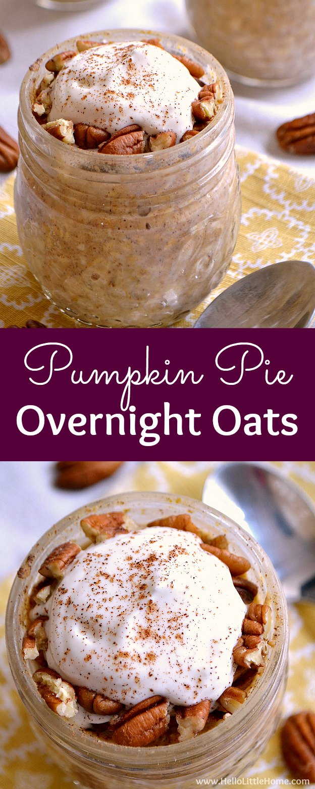 Pumpkin Pie Overnight Oats recipe! Healthy overnight oats in a jar ... an easy breakfast recipe with all the flavors of your favorite Thanksgiving dessert! These easy overnight oats with milk are the perfect fall breakfast ... or enjoy them anytime of year! | Hello Little Home
