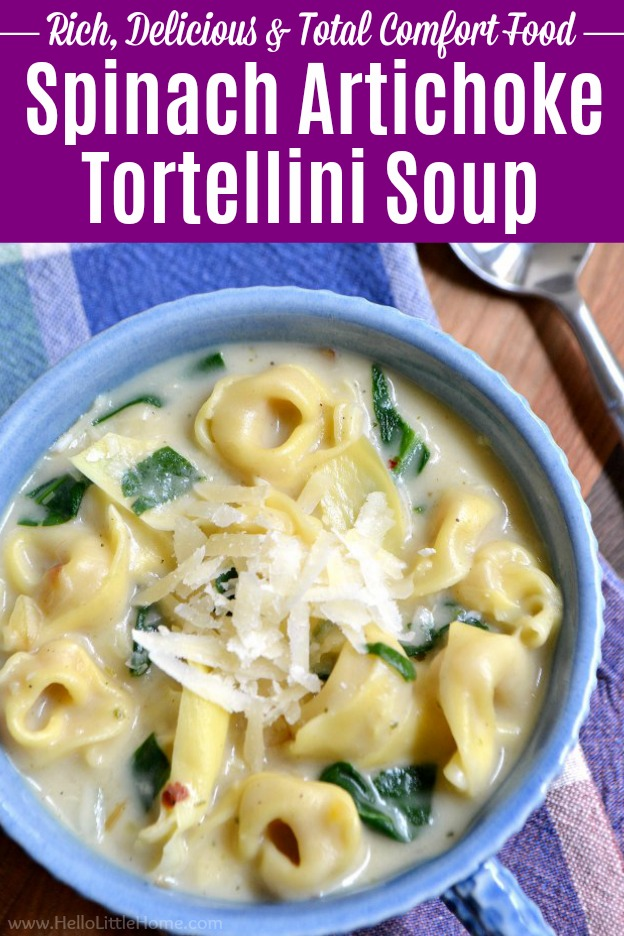 Creamy Spinach Artichoke Soup ... this rich vegetarian tortellini soup recipe is quick and easy to make and filled with vegetables and yummy cheese tortellini! All the flavors of your fave spinach artichoke dip are found in this creamy vegetarian tortellini soup recipe! Make this easy Tortellini Soup tonight … it's perfect for Meatless Monday or any night of the week. | Hello Little Home #tortellinisoup #soup #souprecipe #vegetarian #vegetarianrecipes #vegetariansoup #tortellini #comfortfood