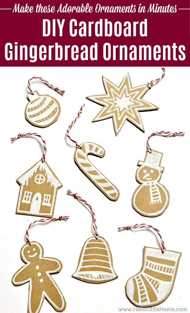 Adorable DIY Cardboard Gingerbread Ornaments