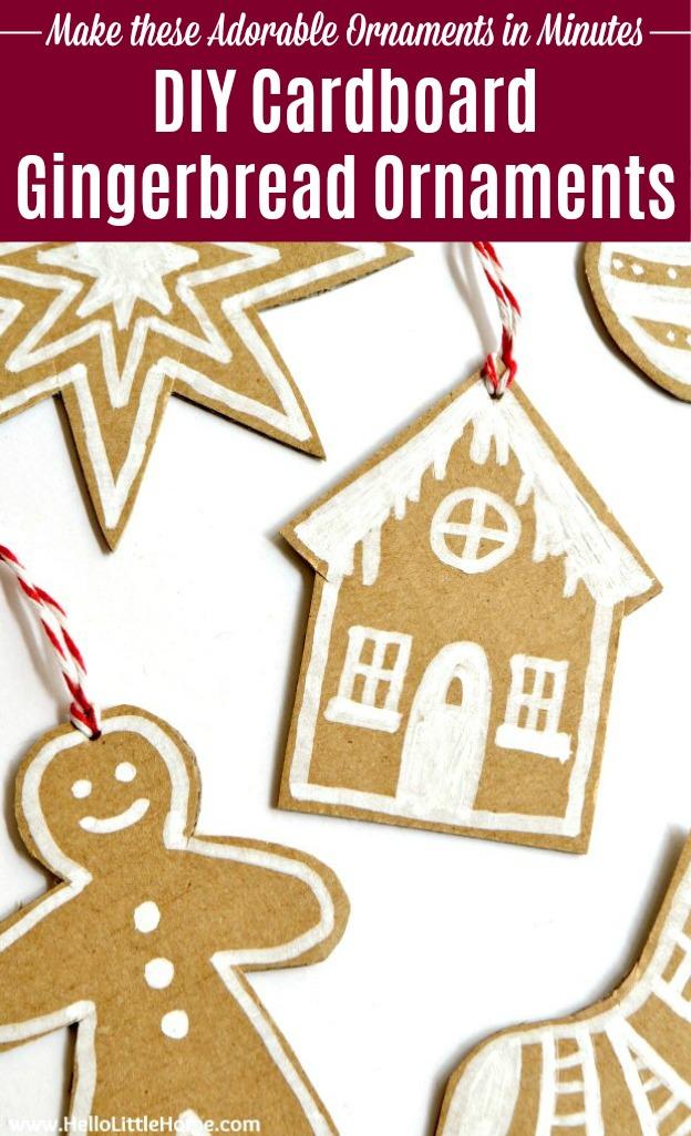 Adorable DIY Cardboard Gingerbread Ornaments