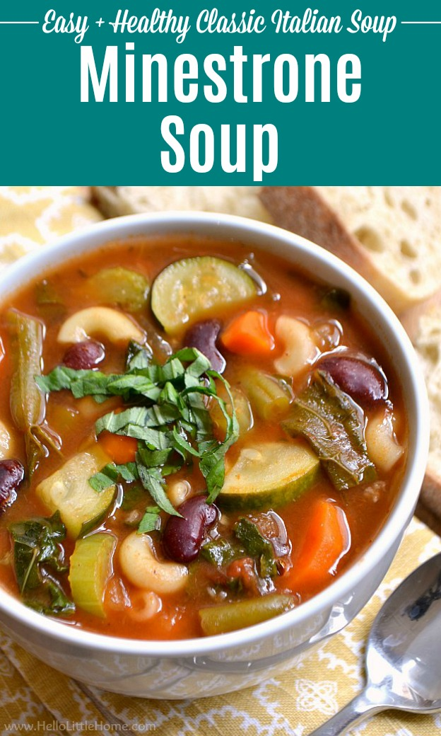 A big bowl of hearty Minestrone Soup.