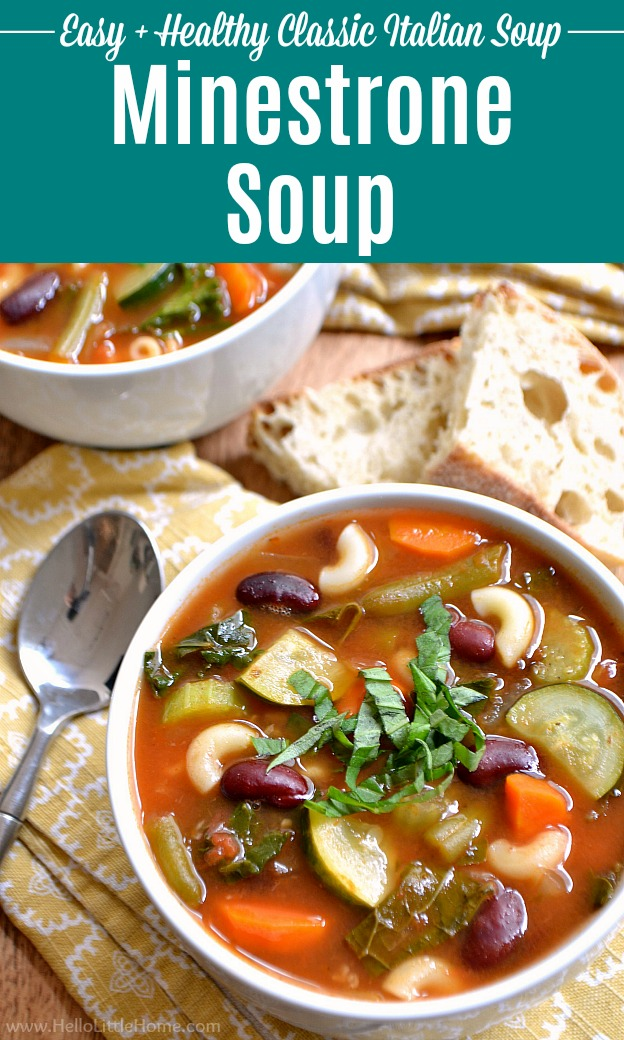 Two bowls of homemade Minestrone Soup served with bread.