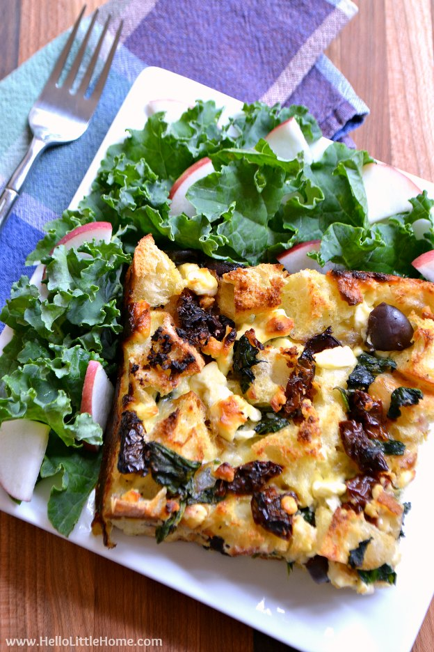 Mediterranean Strata with Olives, Sundried Tomatoes, and Feta | Hello ...