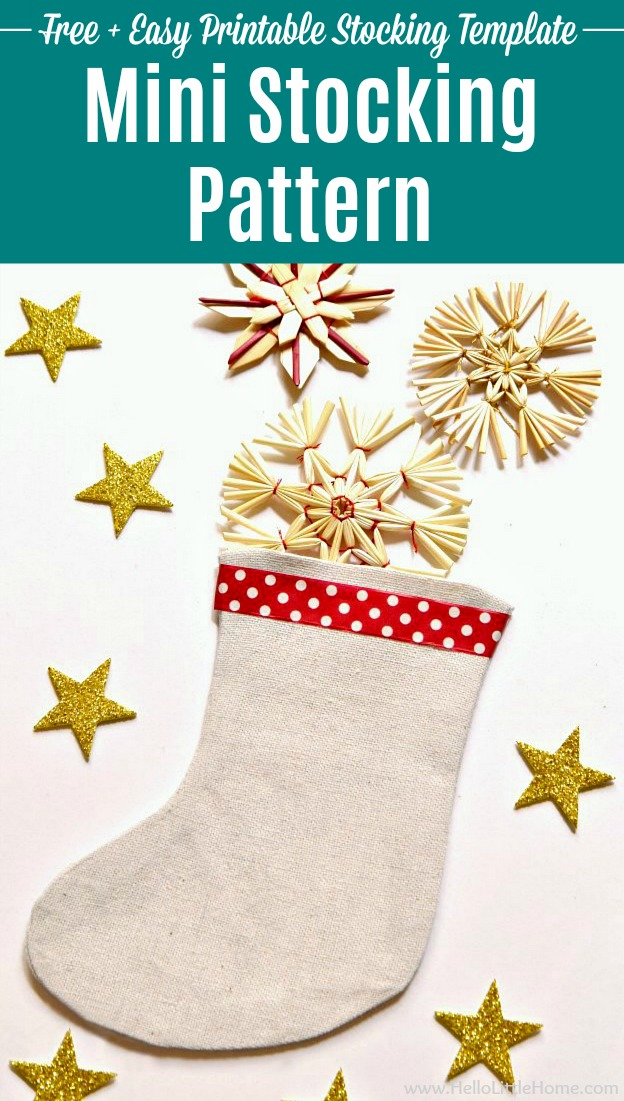 Mini Christmas Stocking Pattern filled with holiday ornaments.