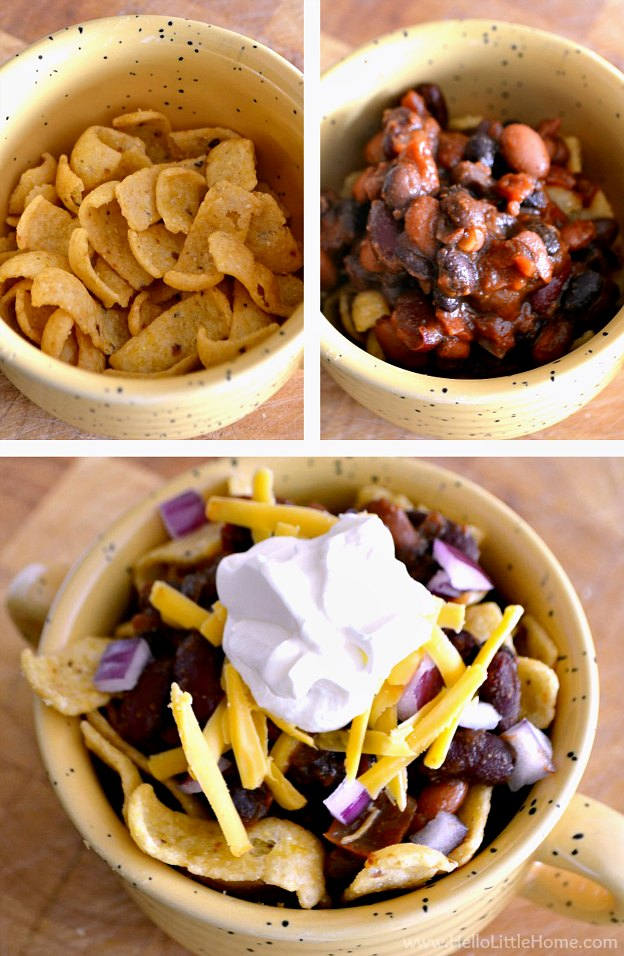 Assembling a frito pie with corn chips, chili, cheese, and toppings.