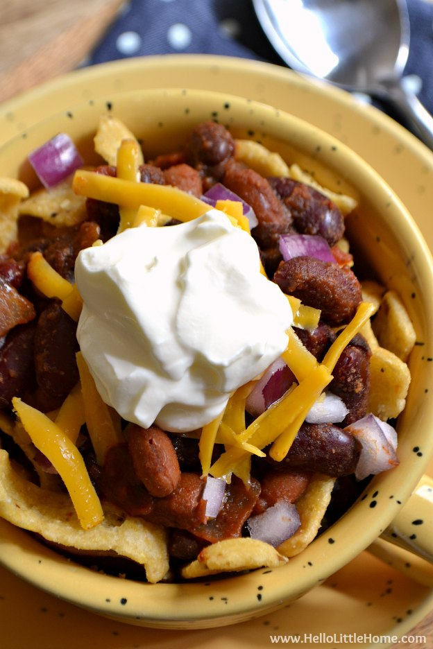 Easy Stovetop Frito Pie ... one of 100 Vegetarian Game Day Recipes! Get ready for the big game with over 100 vegetarian and vegan appetizers, soups, chilis, main dishes, sandwiches, breakfast, desserts, and more that will make your next football watching party unforgettable! | Hello Little Home