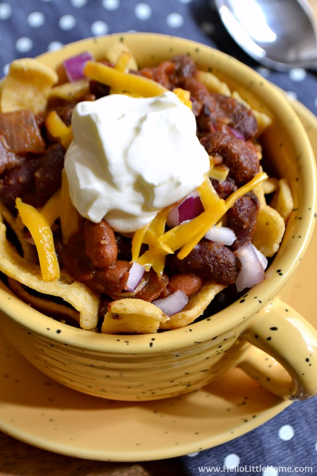 Easy Stovetop Frito Pie ... this quick and easy recipe is perfect for chilly winter nights and game day! Make it with your favorite chili for a fast meal. It's total comfort food! | Hello Little Home
