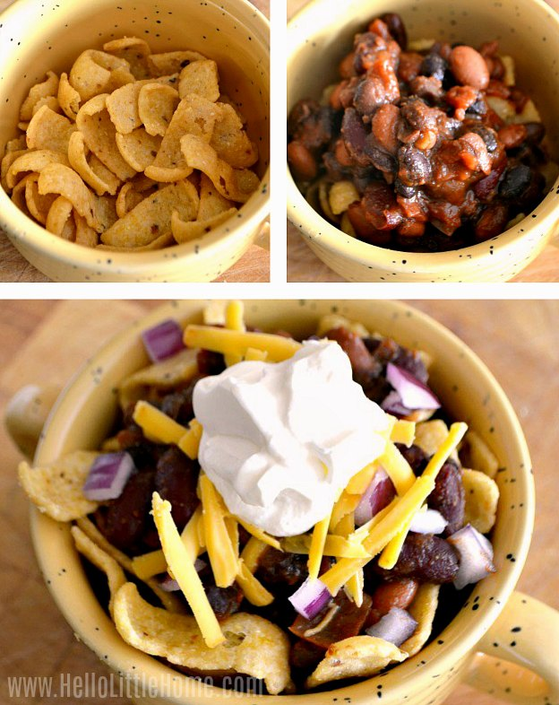 A photo collage showing how to assemble the frito chili pie step-by-step.
