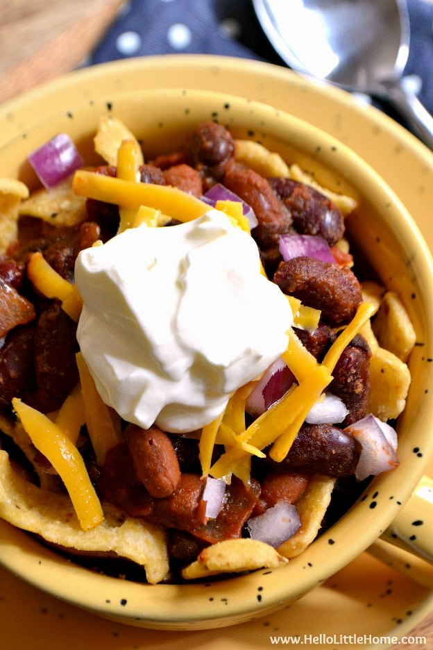 Overhead photo of Stovetop Frito Pie in a large mug.