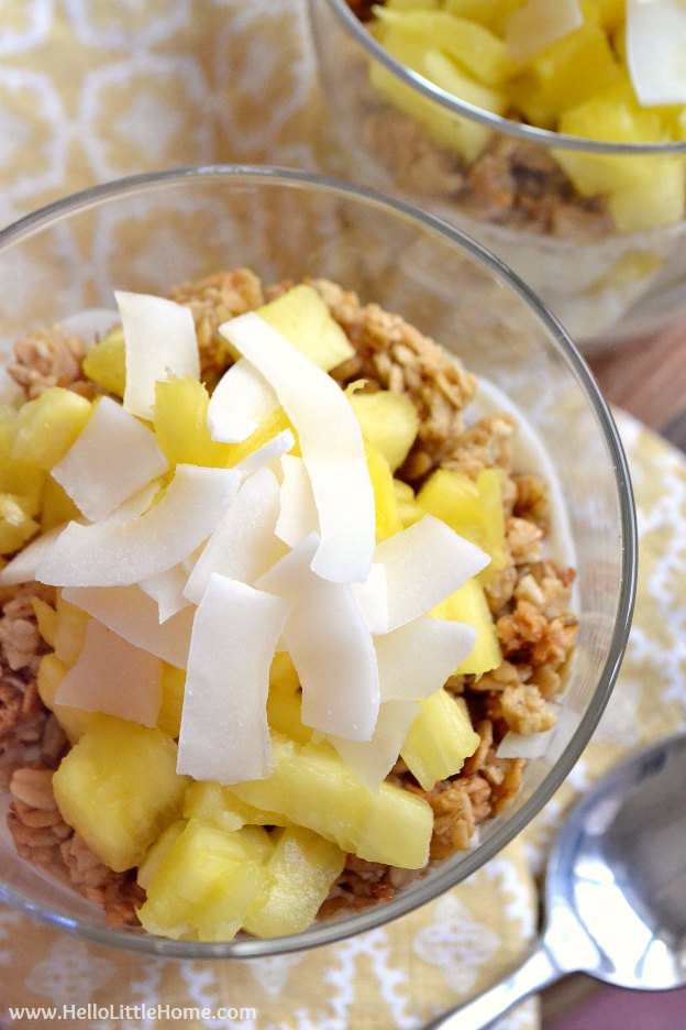 150+ Vegetarian Easter Recipes that are perfect for your holiday dinner or brunch, including this Tropical Breakfast Parfait! Find tons of vegetarian and vegan recipe ideas - from healthy appetizers to decadent desserts - that your whole family will love! Hello Little Home