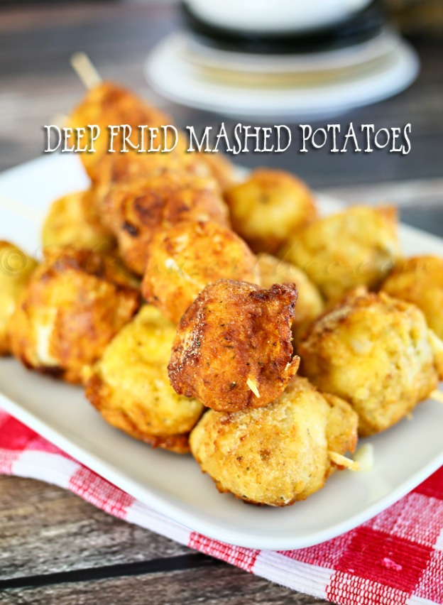 Deep Fried Mashed Potatoes from Kleinworth & Co. ... one of 100 Vegetarian Game Day Recipes! Get ready for the big game with over 100 vegetarian and vegan appetizers, soups, chilis, main dishes, sandwiches, breakfast, desserts, and more that will make your next football watching party unforgettable! | Hello Little Home