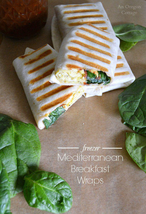 Mediterranean Breakfast Wraps from An Oregon Cottage ... one of 100 Vegetarian Game Day Recipes! Get ready for the big game with over 100 vegetarian and vegan appetizers, soups, chilis, main dishes, sandwiches, breakfast, desserts, and more that will make your next football watching party unforgettable! | Hello Little Home